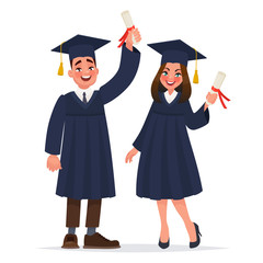 Couple of graduates with diplomas. The guy and the girl graduated from university. Vector illustration