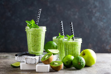 Smoothie with fresh green apple, kiwi and lime. Summer vitamin refreshing beverage. Healthy detox diet