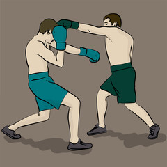 Two men in green and blue shorts and brown hair are boxing jn the gray background. Olympic sport eps 10 illustration
