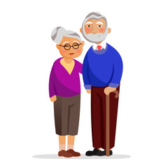 Happy granny and grandpa standing together and hugging. Aged people isolated on white background. Grandmother and grandfather in love vector flat illustration. Old family with good relationships.