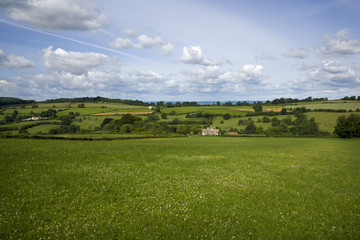 Summer sunshine view of an idyllic valley in the Cotswold countryside near Painswick, Gloucesteshire, UK.
