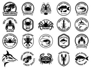 Set of seafood market emblems. Design element for logo, label, emblem, sign.