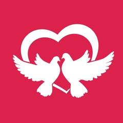 пара голубей и сердце