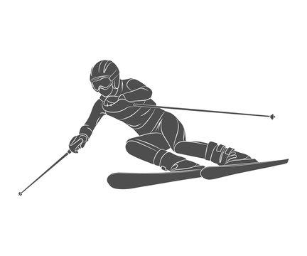 Skiing slalom athlete winter sports