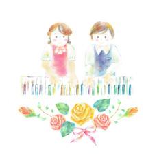 虹色ピアノを弾く子供 薔薇