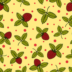 Gentle flower seamless pattern with wild strawberry.