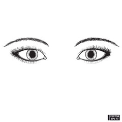 Two beautiful female eyes sketch