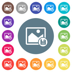 Save image flat white icons on round color backgrounds