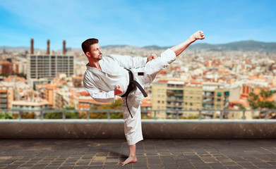 Martial arts, fighter training on the top of roof