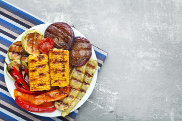 Grilled vegetable in plate on wooden table