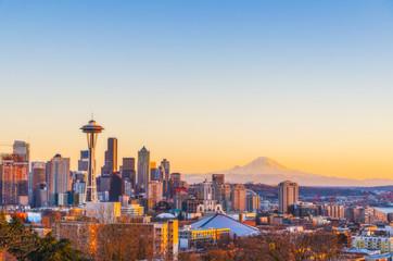 beautiful Seattle city skyline on the sunset,Washington,usa.