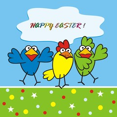 Three birds, happy easter, vector funny icon, postcard