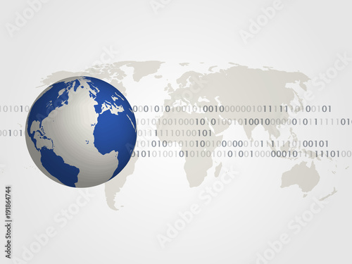 3d world map and digits represents technology concept and global connection vector