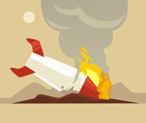 Broken rocket. Vector flat cartoon illustration