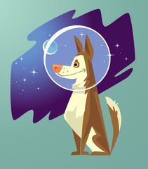 Dog astronaut character. Vector flat cartoon illustration