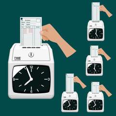 Hand which is putting the time table into the time recorder
