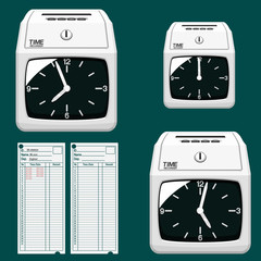 Isolated dial clock time recorder  on transparent background.