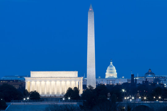 Washington DC monuments, Lincoln, Washington and Capitol Building