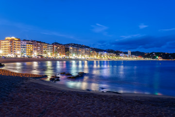 Lloret de Mar Resort Sea Town Skyline and Beach at Night
