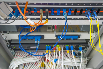 Fiber optical panel and switch hub  in rack cabinet