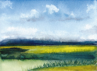 Watercolor painting of summer landscape with mountains, blue sky, clouds, green glade. Abstract hand painted background. Textured paper. Hand drawn nature. Countryside illustration.