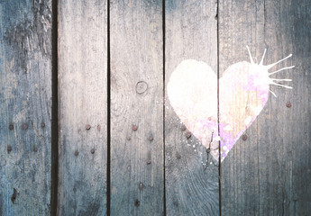 Wooden fence with hand painted heart, background for your design