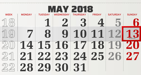 vector calendar of may 2018 with slidable red frame highlighting mother's day
