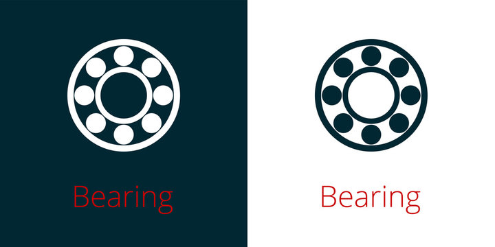 Ball bearing flat vector icon on white and inversion