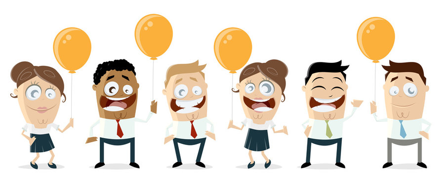 happy business team with balloons