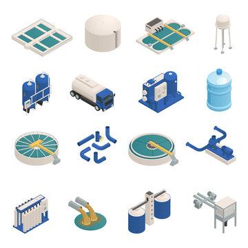 Wastewater Purification Isometric icons Set