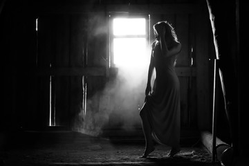 Silhouette of a girl black and white photo