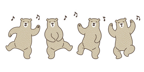 Bear vector Polar Bear dance sing a song doodle illustration character cartoon