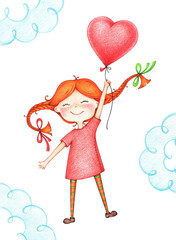 hand drawn picture of kid flying with red balloon by the color pencils. illustration of sentimental happy girl