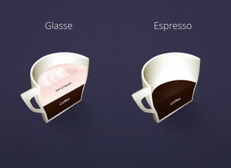 Illustration of isometric cups of coffee in a cut. Glasse, Espresso. Coffee collection isolated on dark blue background. Coffee guide menu. Different coffee drinks.
