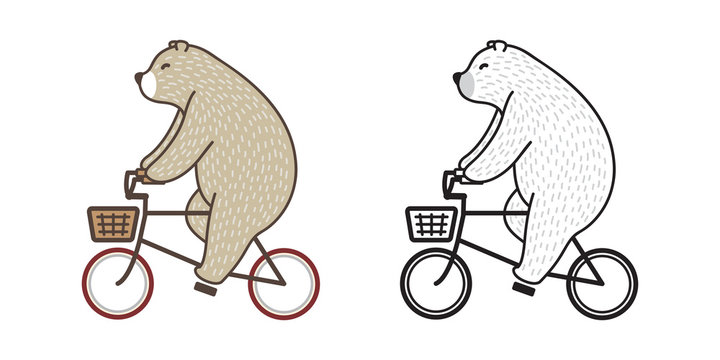 Bear vector Polar Bear ride bicycle doodle illustration character cartoon