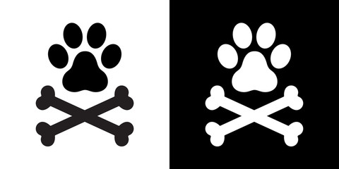 Dog paw dog bone cross bone pirate vector illustration icon logo