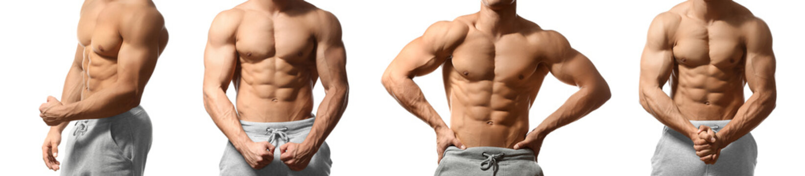 Collage with muscular young bodybuilder on white background