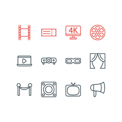 Vector illustration of 12 cinema icons line style. Editable set of filmstrip, slideshow, tv and other icon elements.