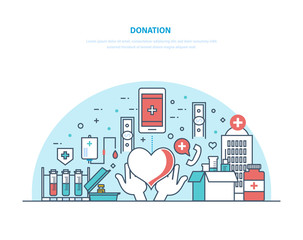 Charity and donation. Financial, monetary and blood donation, volunteer work.