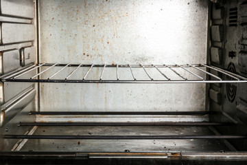Dirty convection oven, closeup