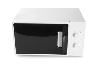Modern microwave oven on white background