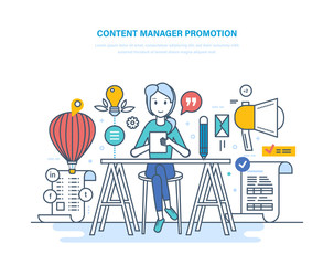 Content manager promotion. Work with data, media content, sites, freelance.