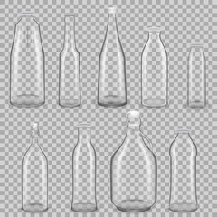 Set realistic template, empty glass transparent bottles for juice, milk
