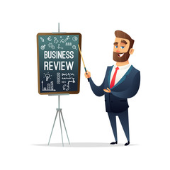Successful beard businessman character showing business project report, year end summary concept. Business concept illustration