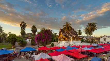 Landscape and sunset at Night market in Luang Prabang, Laos.