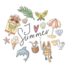 set of doodles on a summer theme
