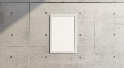 Quadro appeso ad un muro in cemento, museo, esposizione. Decorare una parete. Arredamento di un locale. 3d rendering