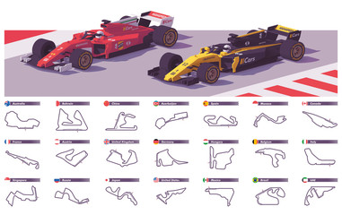 Vector motor racing tracks