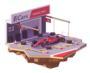Vector low poly racing car and pit stop