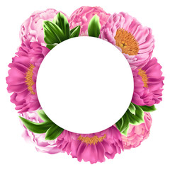 Illustration with Pink Peonies, Green Leaves and Round Place for Text